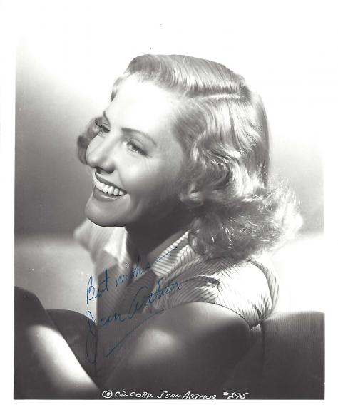 """JEAN ARTHUR - Feature Roles Include """"MR. DEEDS GOES to TOWN:, """"YOU CAN'T TAKE It With YOU"""", and """"MR. SMITH GOES to WASHINGTON"""" Signed 8x10 B/W Photo"""