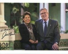 JEB BUSH HAND SIGNED 8x10 COLOR PHOTO+COA        GREAT POSE WITH HIS WIFE