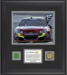 Jeff Gordon 2013 Goody's 500 Framed 8'' x 10'' Photograph with Gold-Plated Coin and Race-Used Flag - Limited Edition of 124 - Mounted Memories