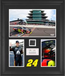 Jeff Gordon 2014 Brickyard 400 at Indianapolis Motor Speedway Race Winner Framed 3-Photograph Collage with Race-Used Tire-Limited Edition of 500