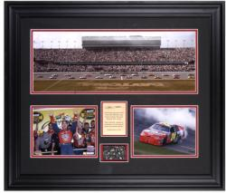 Jeff Gordon 2005 Daytona 500 Champion Framed Mini Panoramic Photograph and Two 6'' x 8'' Photographs with Piece of Daytona International Track - Mounted Memories