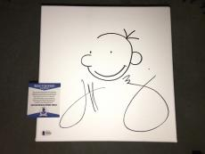 Jeff Kinney 12x12 Sketch Canvas Of Diary Of A Wimpy Kid Hit Book/Movie Beckett#2