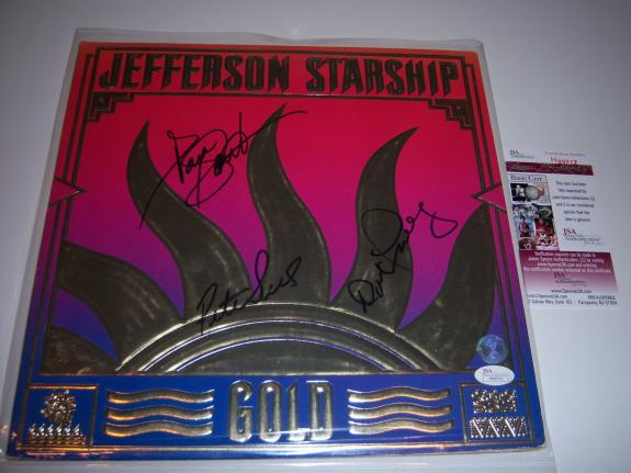Jefferson Starship Gold 3sigs Jsa/coa Signed Lp Record Album