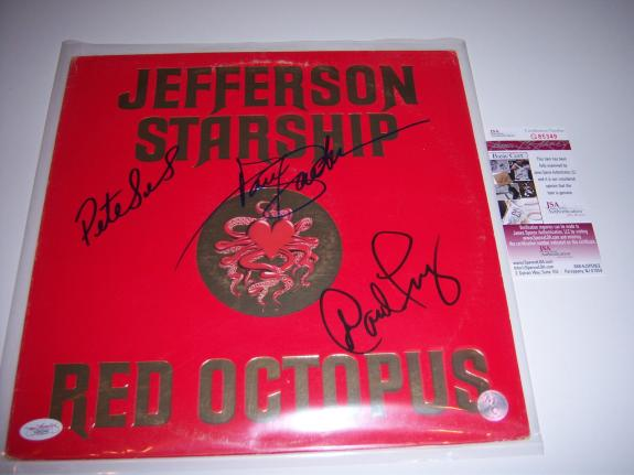 Jefferson Starship Red Octopus 3sigs Jsa/coa Signed Lp Record Album