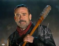 Jeffrey Dean Morgan Negan Signed Walking Dead 16x20 Close Up Photo- JSA W Auth