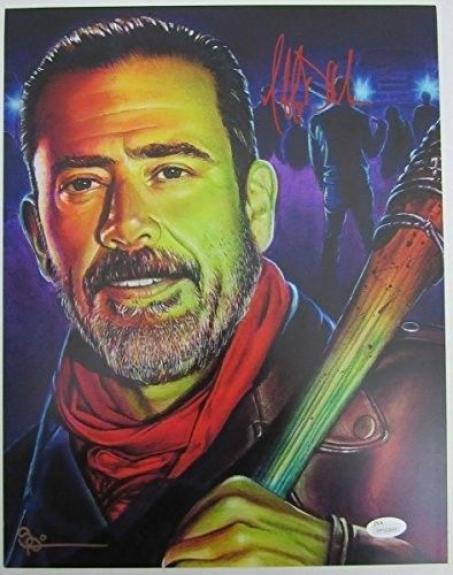 "Jeffrey Dean Morgan ""Negan"" The Walking Dead Signed Scott Spillman 11x14 129505"