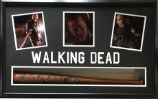 Jeffrey Dean Morgan Negan Walking Dead signed Bat photo collage framed auto JSA