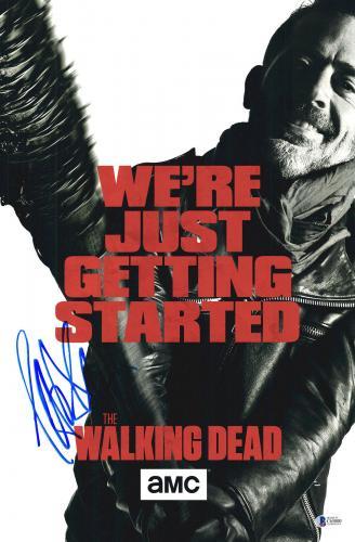 Jeffrey Dean Morgan Signed 12x18 Walking Dead Poster Photo Beckett Sticker Only