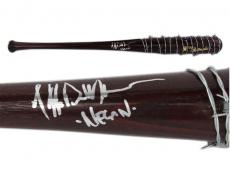 "Jeffrey Dean Morgan Signed Walking Dead Barbed Wire Brown Lucille Bat with ""Negan"" Inscription"