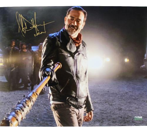 "Jeffrey Dean Morgan Signed The Walking Dead 16x20 Photo Bat in Hand with ""Negan"" Inscription"