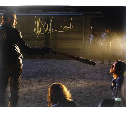 "Jeffrey Dean Morgan Signed The Walking Dead 16x20 Photo (with Glenn) with ""Negan"" Inscription"