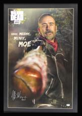 "Jeffrey Dean Morgan Signed The Walking Dead Framed Full Size Eeny, Meeny, Miny, Moe Poster With ""Negan"" Inscription"