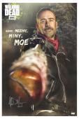 "Jeffrey Dean Morgan Signed The Walking Dead Full Size Eeny, Meeny, Miny, Moe Poster with ""Negan"" Inscription"