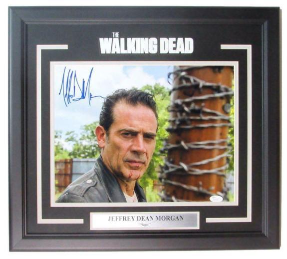 Jeffrey Dean Morgan Signed Walking Dead 11x14 Photo Framed JSA 147639
