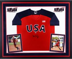 Jennie Finch Team USA Autographed Deluxe Framed Red Olympic Jersey with USA Inscription