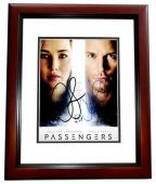 Jennifer Lawrence and Chris Pratt Signed - Autographed Passengers 8x10 inch Photo - MAHOGANY CUSTOM FRAME - Guaranteed to pass PSA or JSA
