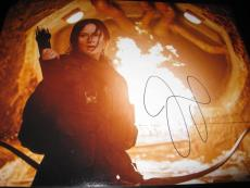 JENNIFER LAWRENCE SIGNED AUTOGRAPH 11x14 PHOTO HUNGER GAMES ACTION SHOT FIRE COA