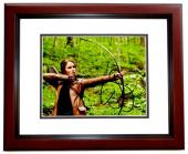 Jennifer Lawrence Signed - Autographed Hunger Games - Katniss Everdeen 8x10 inch Photo MAHOGANY CUSTOM FRAME - Guaranteed to pass PSA/DNA or JSA