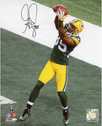 """Greg Jennings Green Bay Packers Super Bowl XLV Autographed 8"""" x 10"""" Catch Photograph"""