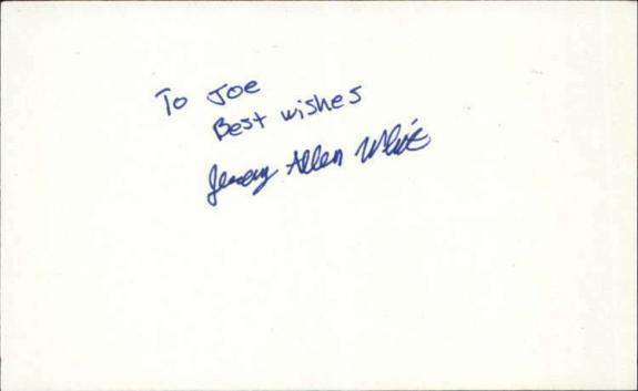 "JEREMY ALLEN WHITE SHAMELESS Signed 3""x5"" Index Card"