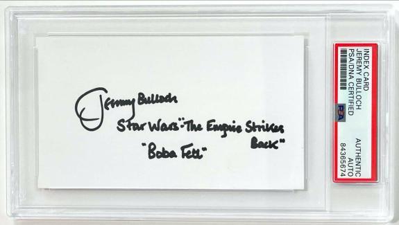 Jeremy Bulloch Boba Fett ESB Star Wars Signed 3x5 Index Card PSA/DNA Slabbed