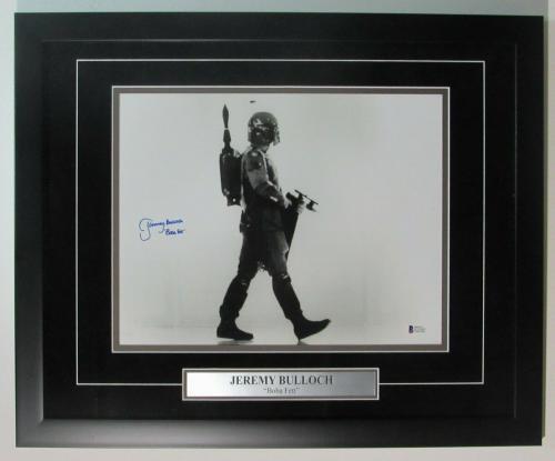 "Jeremy Bulloch ""Boba Fett"" Signed 11x14 B/W Photo Framed Beckett 147640"