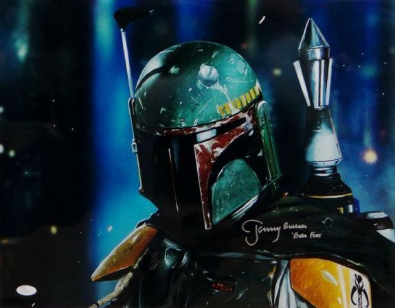 Jeremy Bulloch Boba Fett Signed Star Wars 16x20 Dark Close Up Photo- JSA Auth *S