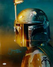 Jeremy Bulloch Boba Fett Signed Star Wars 16x20 Vert. Close Up Photo- JSA *Blue