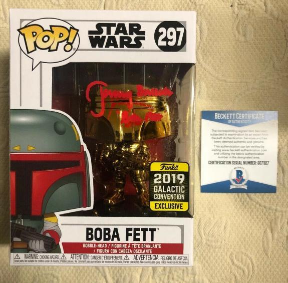 Jeremy Bulloch Signed Autographed Boba Fett Star Wars 2019 Funko Pop Beckett 12