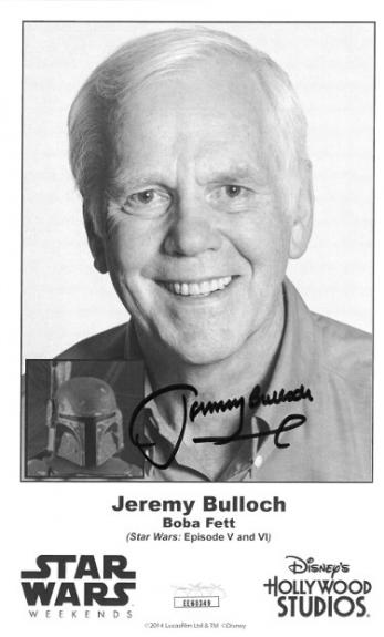 Jeremy Bulloch signed Boba Fett Star Wars: Episode V & VI B&W 4.5x7.5 Photo- JSA Hologram #EE60349