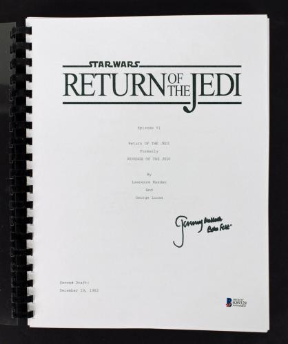 Jeremy Bulloch Signed Star Wars Return of the Jedi Movie Script BAS