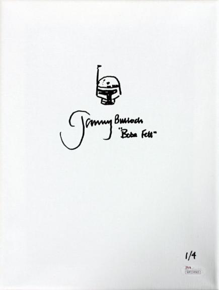 """Jeremy Bulloch Star Wars """"Boba Fett"""" Signed 9x12 Canvas w/ Sketch LE 1/4 JSA"""