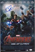 "Jeremy Renner Hawkeye Autographed 12"" x 18"" Marvel Age of Untron Photograph - JSA"