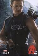 "Jeremy Renner Hawkeye Autographed 12"" x 18"" Marvel Photograph - JSA"