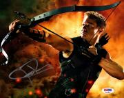 """JEREMY RENNER Signed Auto The Avengers """"HAWKEYE"""" 8X10 Photo PSA/DNA #AE41811"""