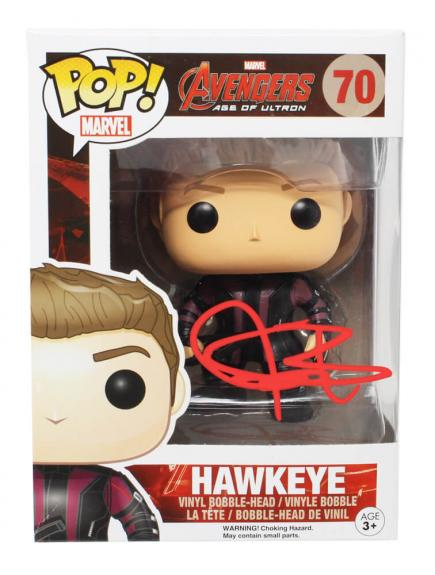 Jeremy Renner Signed The Avengers Age Of Ultron Hawkeye Funko Pop Doll #70