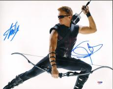 JEREMY RENNER & STAN LEE Signed The Avengers HAWKEYE 11x14 Photo PSA/DNA AB63557