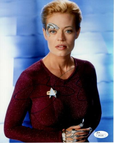JERI RYAN HAND SIGNED 8x10 COLOR PHOTO       SEXY 7 of 9 FROM STAR TREK      JSA