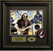 Jerry Garcia Grateful Dead 11x14 photo logo patch collage framed 21X21