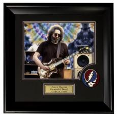 Jerry Garcia Grateful Dead 11x14 photo SUEDE logo patch collage framed 21X21