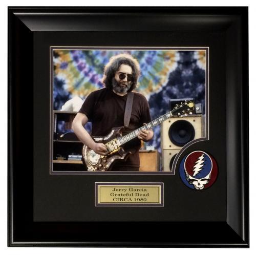 Jerry Garcia Grateful Dead 11x14 photo SUEDE logo patch collage framed 21X21