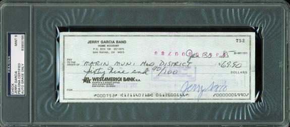 Jerry Garcia Grateful Dead Signed 1985 check Auto Graded Mint 9! PSA Slabbed