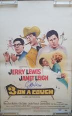 JERRY LEWIS Signed 1963 3 On a Couch Janet Leigh 14x22 Poster PSA COA Proof Pic