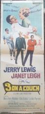 JERRY LEWIS Signed 1966 3 On a Couch Janet Leigh 14x38 Poster PSA COA Proof Pic