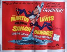 JERRY LEWIS Signed 1968 Sailor Beware Dean Martin 22x28 Poster PSA COA Proof Pic