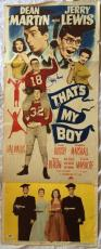 JERRY LEWIS Signed THAT'S MY BOY 1951 14x38 Original Poster Dean Martin PSA COA