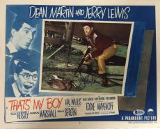 JERRY LEWIS Signed That's My Boy Lobby Card Dean Martin Beckett BAS COA Proof 1