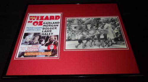 Jerry Maren Signed Framed 16x20 Photo Display Wizard of Oz