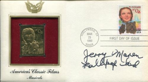 Jerry Maren Wizard Of Oz Munchkin Lollipop Kid Signed Autograph FDC Sheet