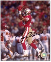 Jerry Rice San Francisco 49ers Autographed 8'' x 10'' Jumping For Ball Photograph - Mounted Memories